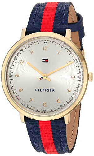 Tommy Hilfiger Women's 'SPORT' Quartz Gold-Tone and Nylon Casual Watch, Color: Red (Model: 1781766)