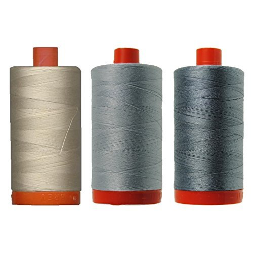 Bundle of (3) 1422 Yard Spools Aurifil 50 wt Quilter's Thread Piecing Colors: Light Beige (Off White), Dove (Light Gray) & Grey (Medium Gray)