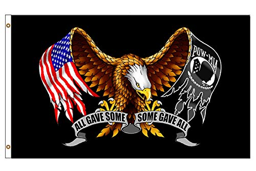 Polyester Eagle Flag - flyingflags USA POW MIA Eagle Flag - All GAVE Some, Some GAVE All POW MIA Eagle - 3' x 5' Durable Polyester Indoor Outdoor Banner