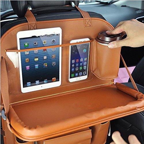 Rückenlehnenschutz, Auto Rücksitz Organizer Tisch Schreibtisch Sitz Tasche Schutz Halterung für Flaschen, Laptop-Halter Taschentücher Box (Rot) Rückenlehnenschutz YUEWO