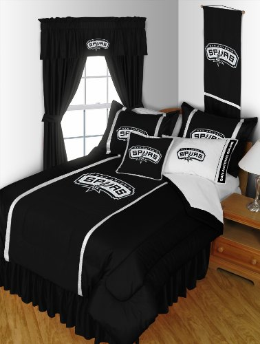 San Antonio Spurs Bedding (San Antonio Spurs 5 Piece FULL SIZE Comforter Bedding Set - Entire Set Includes: (1 Full Size Comforter, 2 Pillow Shams, 2 Pillow Cases))
