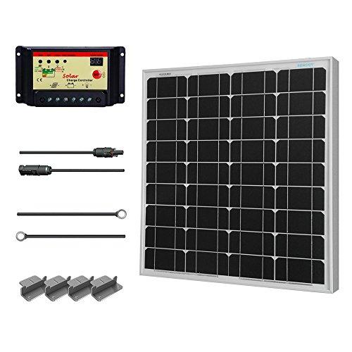 - Renogy 50 Watt 12 Volt Monocrystalline Solar Starter Kit