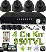USG 850TVL 4 Channel CCTV Kit: 1x 4Ch DVR + 4x Dome Cameras + 1x 1TB HDD + 4x 65