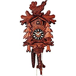 Romba Rombach & Haas Feeding Birds Model 1207 1-Day Black Forest Cuckoo Clock with Half and Full Hour Call, Linden Wood