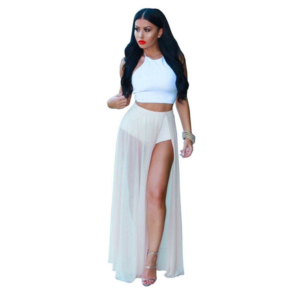 Womens Sexy 2 Pieces Outfits Chiffon Wrapped Crop Top Skirt Bandage Club Dress (L, white)
