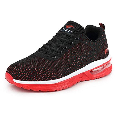 Young & Ming Unisex Scarpe da Ginnastica Corsa Sportive Running Sneakers Fitness Interior Casual all'Aperto Rosso