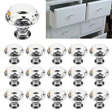 Bluecookies 16PCS Drawer Knobs 30mm Diamond Crystal Glass Clear Cabinet Pulls Handles