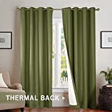 Room Darkening Lined Blackout Curtains 84 Inches Long, Thermal Insulated Living  Room Drapes 84 Inch Length, Olive, Grommet Top, Sold Individually