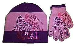 Disney Little Girls' Royal Princess Hat and Mitten Set Purple One Size