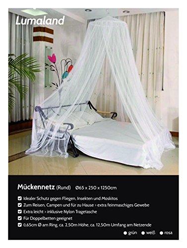 Lumaland Moskitonetz rund Indoor Outdoor in verschiedenen Farben Weiss