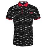 Eurogarment Mens Cotton Slim Fit Polo Shirts For Men Short Sleeve Breathable Turn Down Collar Classic Golf Shirt (Black, M)