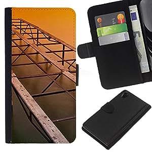 KLONGSHOP // Tirón de la caja Cartera de cuero con ranuras para tarjetas - Arquitectura Puente Viejo - Sony Xperia Z2 D6502 //