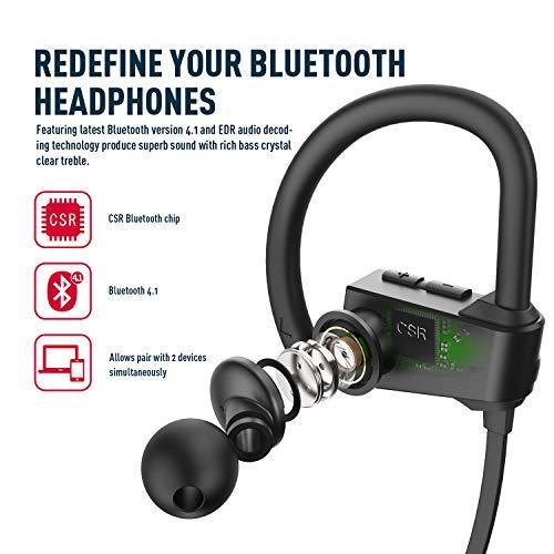 WRZ S4 Wireless Bluetooth Headphones Running in-Ear Earbuds Mic IPX7 Sweatproof HD Stereo Earphones Sport Gym Workout 9 Hours Battery (Black)