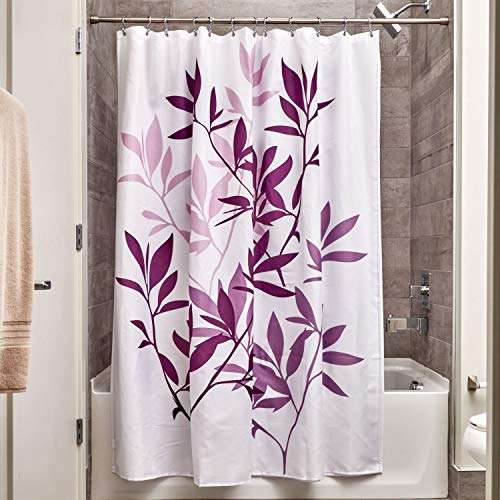 InterDesign Leaves Fabric Shower, Modern Mildew-Resistant Bath Curtain for Master, Kid's, Guest Bathroom, 72 x 72 Inches, Purple and White