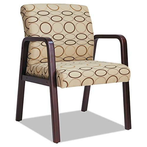 Alera ALERL4351M Reception Lounge Series Guest Chair, Mahogany/Tan Fabric -