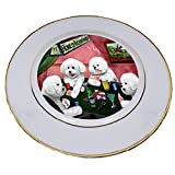 Home of Bichon Frise 4 Dogs Playing Poker Porcelain Plate
