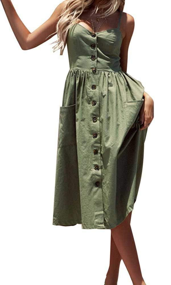 Oops Style Women Solid Plain Army Green Summer Midi Dress with Pockets Plus Size