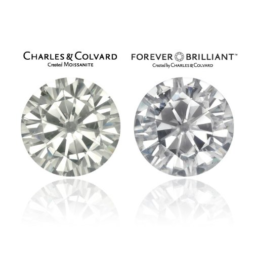 8.0 MM Round Brilliant Cut Forever Brilliant Moissanite by Charles & Colvard 57 Facets - Very Good Cut (1.6ct Actual Weight, 1.90ct. Diamond Equivalent Weight)