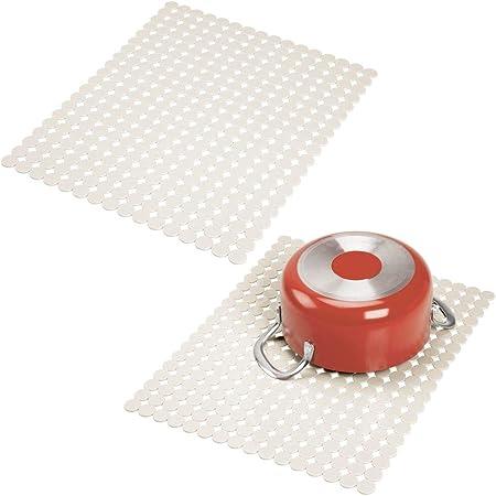 tapis de protection d/'/évier pour vaisselle et /évier mDesign tapis /évier /à d/écouper transparent s/èche vaisselle pratique en PVC pour la cuisine lot de 2