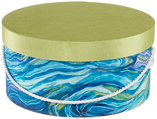 HAT BOX BY L'ARTISANE BEACH OCEAN BLUE WITH SEA GREEN FOAM LID