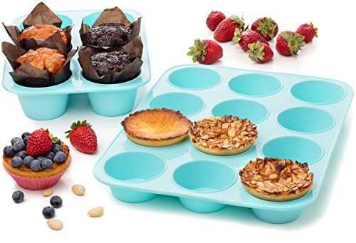 Maxi Nature Kitchenware Silicone Muffin molds Cupcake Baking Pan Set Big Jumbo 6 & 12 - Non Stick Bakeware ()