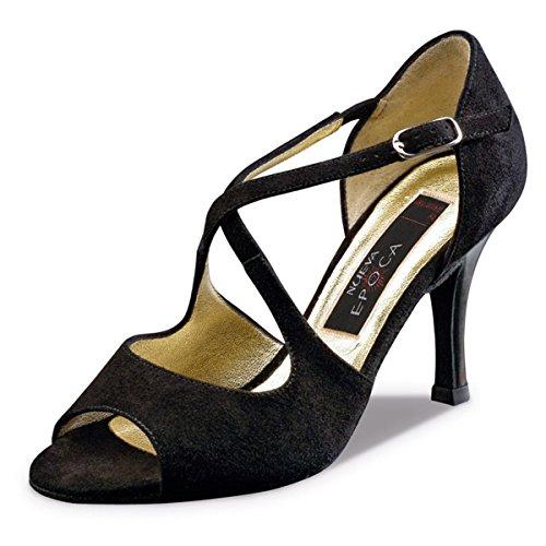 Nueva epoca–Donna Tango/Salsa Scarpe da ballo Martha Pelle Scamosciata–Nero–8cm