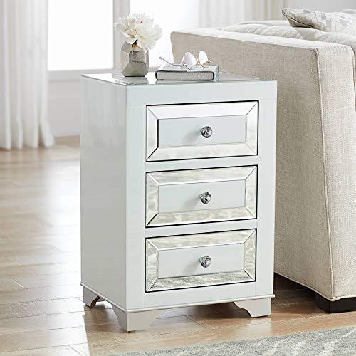 Addison White Mirrored 3-Drawer Side Table - Studio - Beveled Addison Mirror