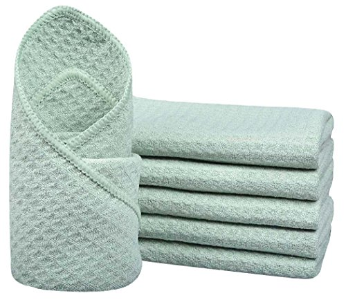 SINLAND Microfiber Waffle Weave Dish Cloths Cleaning Cloth Kitchen Dish Rags Fast Drying Towels 12Inchx12Inch Green 6 Pack