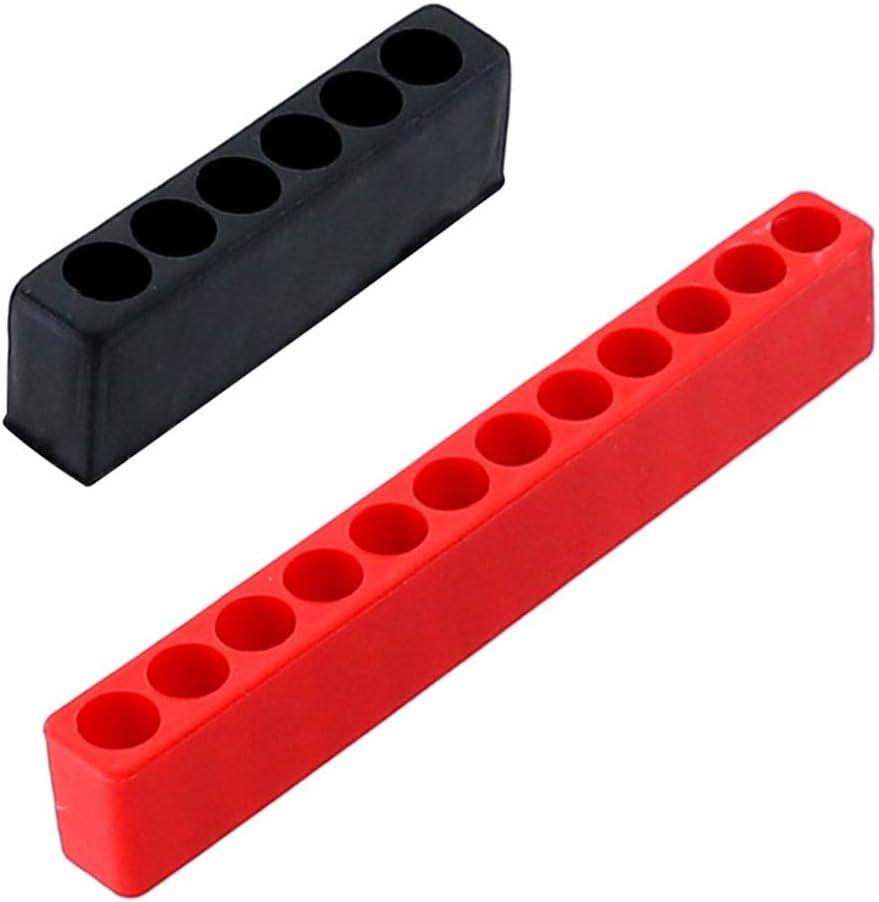 rui tai 6//12 Holes Hex Shank Screwdriver Bits Storage Deck Screw Driver Head Storage Case Red 12 hole