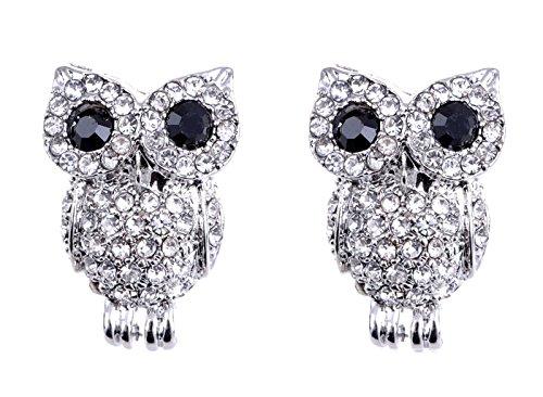 Alilang Silvery Tone Bird Owl Black Crystal Clear Colored Rhinestone Stud Earrings