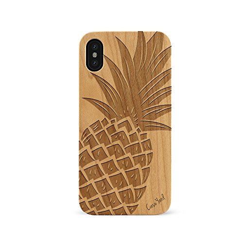 (iPhone Xs Max Case, CaseYard Protective, Hybrid, Lightweight, Fashionable iPhone Xs Max Slim Wood Case, Made in California (iPhone Xs Max) (Cherry) Pineapple)