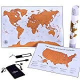 Scratch Off Map of The World + Bonus Premium Scratch Off USA Map. 2x1 Deluxe Gift for Travelers. Size 24x16'' + 17x13''. Original Design by PANGEA