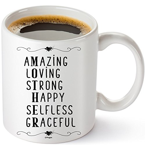 Muggies Mother Amazing, Loving, Strong, Happy, Selfless, Graceful 11 oz Personilized Coffe / Tea Mug For Mom and Wife. Great Unique Funny Gift Cup For Her Birthday, Cristmas & Mother's Day