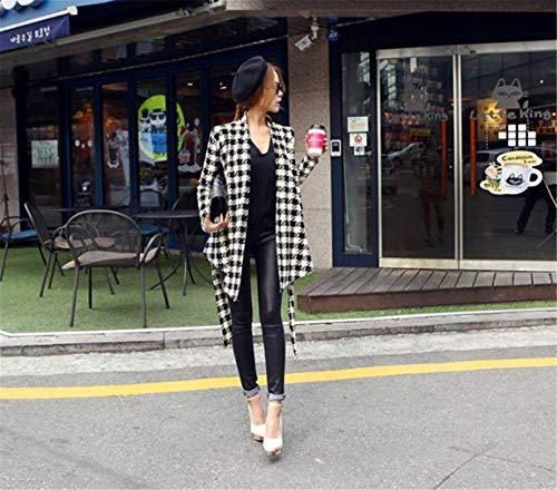 Blazer Primaverile Cardigan Lunga Manica Reticolo Slim Giacche Grazioso Vintage Classiche Nero Donna Autunno Asimmetrica Fit Outerwear Orlo Cappotto kXuZPi