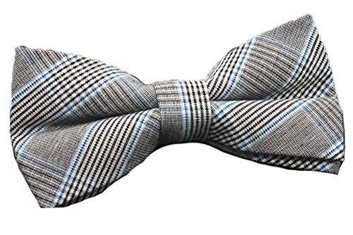 Flairs New York Flannel and Tweed Collection Bow Tie (British Light Grey/Blue [Tweed]) (New Jacket York Tweed)
