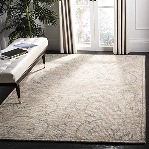 Safavieh Abstract Collection ABT527C Contemporary Handmade Light Grey and Ivory Premium Wool Area Rug 9 x 12