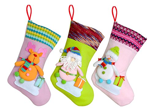 Kingyee Kids Set of 3 Christmas Stockings for Kids, 12 Inch