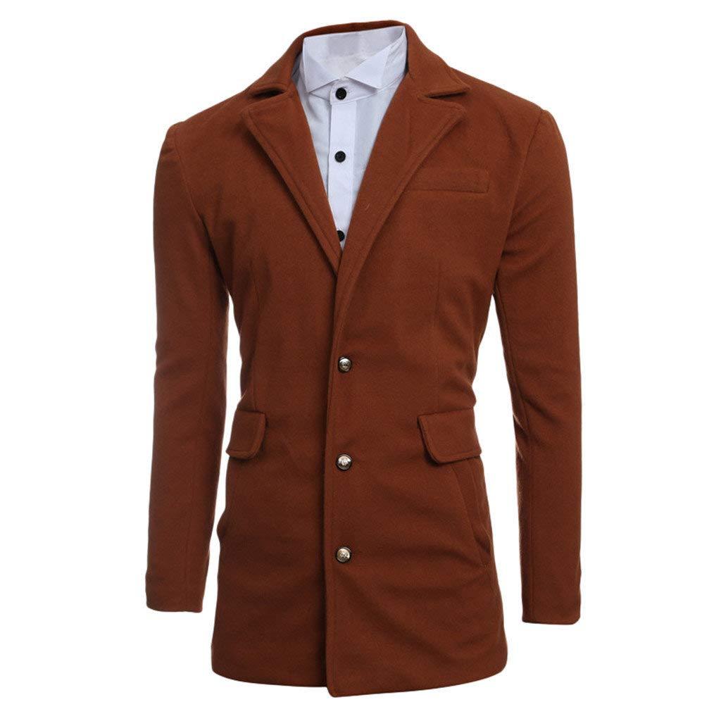 jin&Co Trench Coat Men Solid Color Long Sleeve Single Breasted Lapel Slim Fit Casual Jacket Outercoat Windbreaker Coffee by jin&Co Men's Jacket