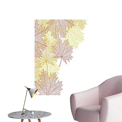 Wall Decals Pattern Maple Tree Fall Skelet Dried Golden Halloween ati Red Yellow Environmental Protection Vinyl,28