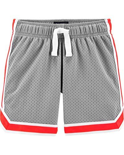 Osh Kosh Boys' Little Mesh Shorts, Wolf Grey/Blaze Neon, 4-5