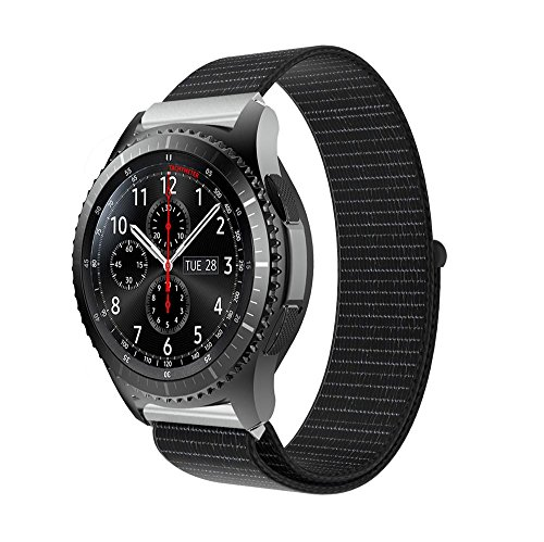 Price comparison product image MChoice Luxury Nylon Watch Bracelet Wrist Band Strap For Samsung Gear S3 Frontier (Black)