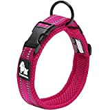 "Creation Core Reflective Dog Collar with Ring Breathable Mesh Soft Padded Adjustable Nylon Pet Collar 0.8"" Wide, Pink M"