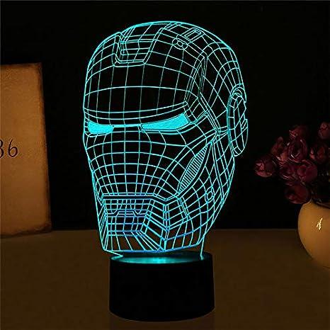 Ilusión 3D Luces Nocturnas Iron Man Máscara Vengadores Luces ...