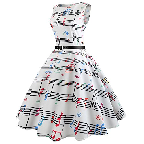 for Hepburn amp; Birdfly Note Pure Ball b Party Summer Style Hem Gown Dress Vintage White with Belt Musical Print Beam Black Women Waist wtqU0t