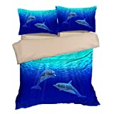 Nostalgic Blue Sea Dolphin Cotton Microfiber 3pc 80''x90'' Bedding Quilt Duvet Cover Sets 2 Pillow Cases Full Size