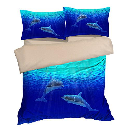 Nostalgic Blue Sea Dolphin Cotton Microfiber 3pc 80''x90'' Bedding Quilt Duvet Cover Sets 2 Pillow Cases Full Size by DIY Duvetcover