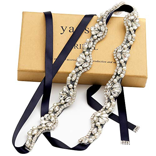 (Yanstar Silver Rhinestone Crystal Pearls Wedding Bridal Belts With Navy Ribbon Sashes For Bridal Bridesmaid Gowns )