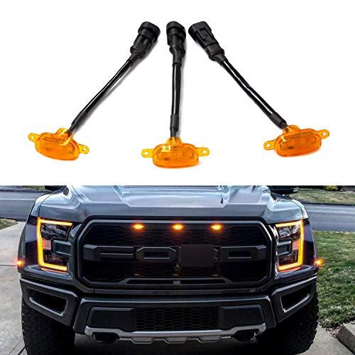 (Seven Sparta Grill Lights for Ford F150/F250 2004-2019, Amber LED Lights for Raptor Grille, 3 Pack )