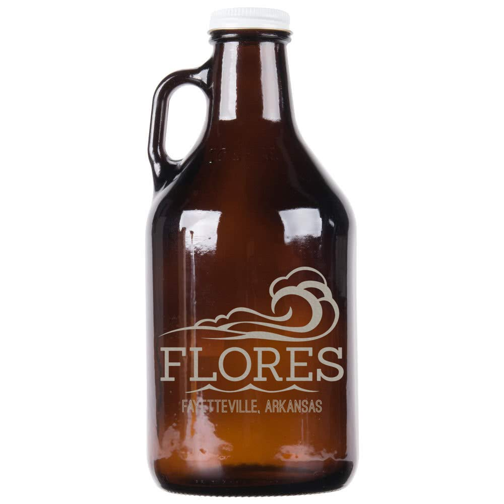 Personalized Etched 32oz Amber Glass Growler by Spotted Dog Company (Image #1)