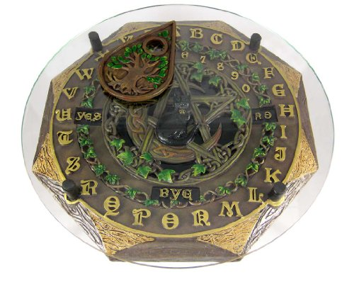 Fantasy Gifts Resin Occult Fortune Telling Toys Black Cat Crescent Moon Pentacle Glass Top Board 13.5 X 13.5 X 2 Inches Multicolored Model # 2034 - Glass Door Letter Board